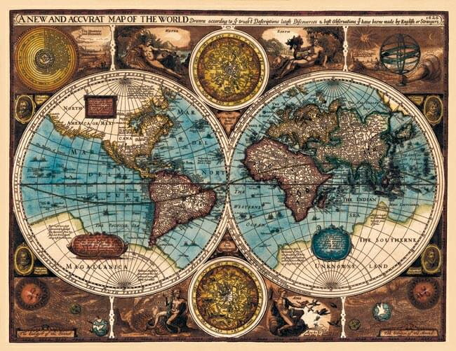【17世紀】アンティーク地図ポスター A NEW AND ACCVRAT MAP OF THE WORLD 【両半球世界地図】 / 古地図 あす楽