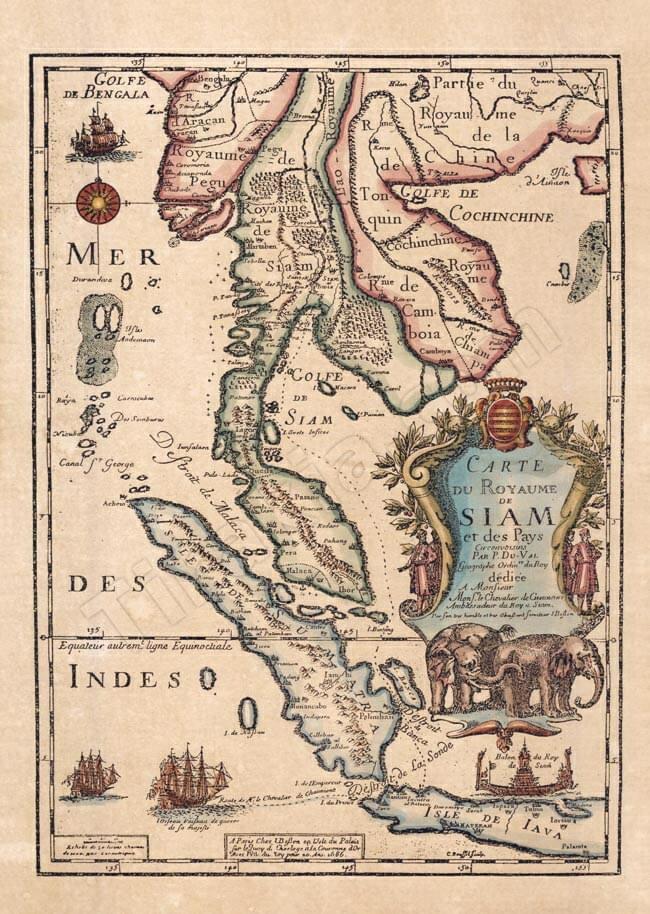 店内全品エントリーでポイント5倍 【17世紀】アンティーク地図ポスター CARTE DU ROYAUME DE SIAM 【タイ及び 周辺諸国】 / 古地図 世界地図 あす楽