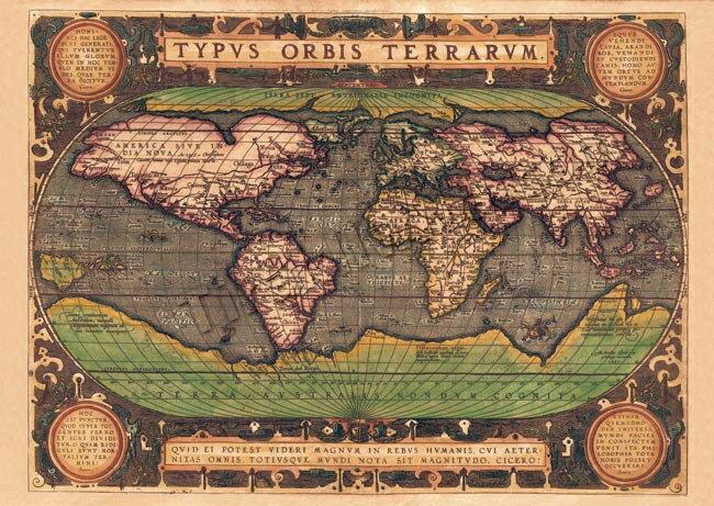 店内全品エントリーでポイント5倍 【16世紀】アンティーク地図ポスター TYPVS ORBIS TERRARVM 【世界地図】 / 古地図 あす楽