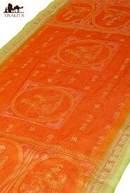 クリシュナ・ラムナミ オレンジ&うぐいす / スカーフ 壁飾り インド 神様 布 アジア ファブリック エスニック