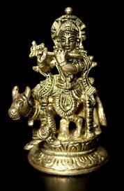 【仏像】 ブラス製 聖牛と笛を吹くクリシュナ〔8cm〕 / ナンディン ヒンドゥー 神様像 インド 置物 エスニック アジア 雑貨
