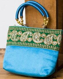 インドのゴージャスハンドバッグ 緑地ペイズリー / 手提げ サリー クラッチバッグ アジアン レディース ポーチ エスニック