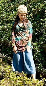 くしゅくしゅネックのタイダイレーヨンシャツ 【茶】 | 【送料無料】 エスニック アジアン 女性 長袖 トップス 衣料 服 ファッション インド