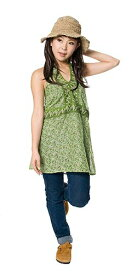 フラワープリントホルターネック -グリーン   キャミソール エスニック アジアン 女性 袖なし トップス 衣料 服 ファッション インド