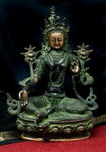 【送料無料】 カディラヴァーニー ターラー(グリーンターラー) 31cm / 菩薩 神様像 ブラス 仏像 チベット 密教 ブッダ像 エスニック インド アジア 雑貨