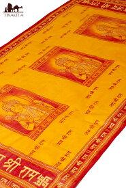クリシュナ・ラムナミ オレンジ / スカーフ 壁飾り インド 神様 布 アジア ファブリック エスニック