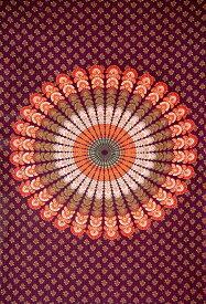 マルチクロス マンダラ【約200cm×約136cm】 / Fabric Mandala Batik 布 壁掛け カーテン 曼荼羅 更紗 唐草 シングル アジア ベッドカバー カディコットン KHADI インド ファブリック エスニック