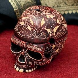 【 ドクロ スカル】 手彫り模様のスカル型灰皿&小物入れ / 骸骨 ガイコツ ネパール インド 神様 置物 エスニック アジア 雑貨