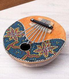 7弦ココナッツカリンバ 【紅葉柄】 / 民族楽器 バリ 親指ピアノ インド楽器 エスニック楽器 ヒーリング楽器