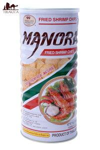 フライドシュリンプチップス Lサイズ缶【Manora】 / エビせん えびチップス お菓子 MANORA(マノーラ) タイ スナック アジアン食品 エスニック食材