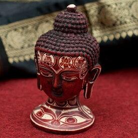 【仏像】 手彫り模様のブッダ・ヘッド 11.8cm / レジン 神様 ヒンドゥー教 仏教 置物 仏陀 釈迦 インド エスニック アジア 雑貨