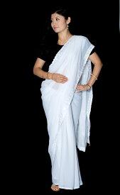 【送料無料】 インドのホワイトサリー【更紗 伝統柄刺繍】 / 民族衣装 デコレーション布 インドサリー レディース エスニック衣料 アジアンファッション エスニックファッション