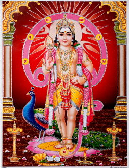 海报的印度教神神 murukan 战斗闪闪发光和印度 [45 厘米 x 30.5 厘米] murukan 韦驮 Murugan 韦驮库马拉裸体装饰艺术绘画好运气运气好运气。