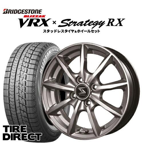 2019年製 新品 ブリヂストン BLIZZAK VRX 155/65R14 75Q アルミホイールセット STRATEGY RX 14インチ×4.5J BRIDGESTONE ブリザック VRX 155/65-14 ストラテジー スタッドレスタイヤ 冬タイヤ 軽自動車 4本セット※ナットは付属いたしません