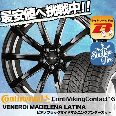 225/45R18 CONTINENTAL コンチネンタル ContiVikingContact6 コンチバイキングコンタクト6 VENERDi MADELENA LATINA ヴェネルディ マデリーナ ラティーナ スタッドレスタイヤホイール4本セット