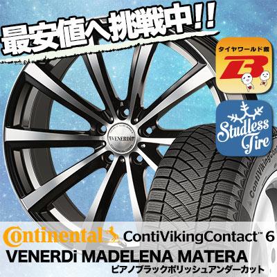 215/60R17 CONTINENTAL コンチネンタル ContiVikingContact6 コンチバイキングコンタクト6 VENERDi MADELENA MATERA ヴェネルディ マデリーナ マテーラ スタッドレスタイヤホイール4本セット