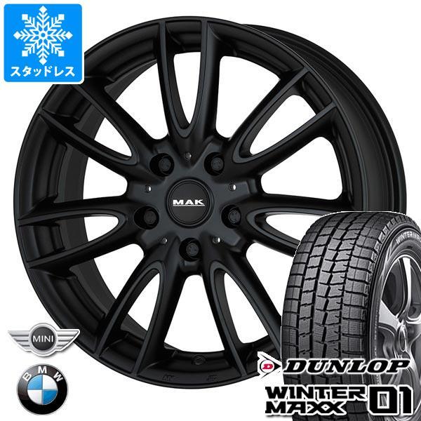 MINI ミニ F55/F56用 スタッドレス ダンロップ ウインターマックス01 WM01 195/55R16 87Q MAK ジャッキー ブラック タイヤホイール4本セット