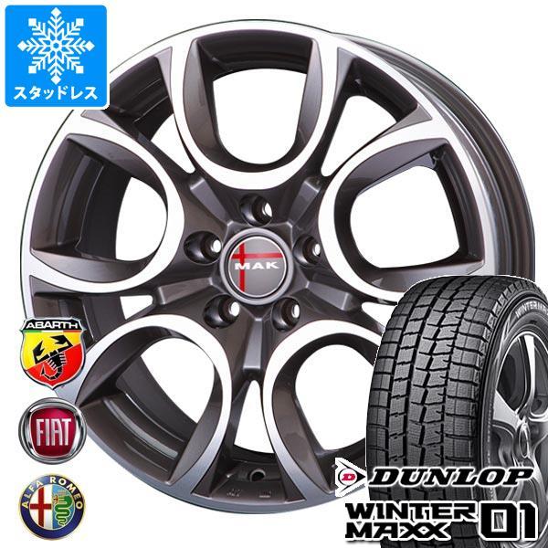 フィアット 500 312系用 スタッドレス ダンロップ ウインターマックス01 WM01 175/65R14 82Q MAK トリノ GP タイヤホイール4本セット