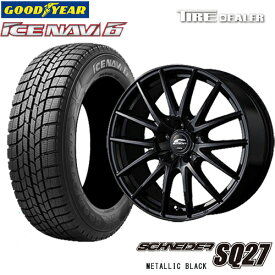 SCHNEIDER SQ27 15インチ 6.0J P.C.D:114.3 5穴 インセット:52 メタリックブラック スタッドレスタイヤ 195/65R15 91Q グッドイヤー ICE NAVI6 2018年製 ヴォクシー 等に