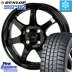 DUNLOP WINTER MAXX 02 ウィンターマックス WM02 ダンロップ スタッドレスタイヤ スタッドレス 195/55R16 HotStuff G-SPEED G-03 ブラック ホイールセット 4本 16インチ 16 X 6 +45 4穴 100