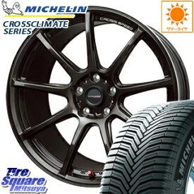 ミシュラン CROSSCLIMATE クロスクライメイト + 正規品 オールシーズンタイヤ 215/55R17 HotStuff クロススピード RS9 ハイパーエディション 軽量 ホイールセット 4本 17インチ 17 X 7 +50 5穴 100