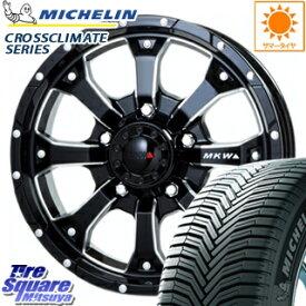 ミシュラン CROSSCLIMATE クロスクライメイト SUV 正規品 オールシーズンタイヤ 215/65R16 MKW MK-46 M/L+ ミルドブラック ホイールセット 4本 16インチ 16 X 7(US) +35 5穴 110