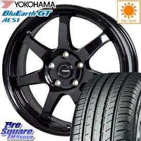 YOKOHAMA ヨコハマ BluEarth-GT AE51 ブルーアース サマータイヤ 205/55R17 HotStuff G-SPEED G-03 ブラック ホイールセット 4本 17インチ 17 X 7 +48 5穴 114.3