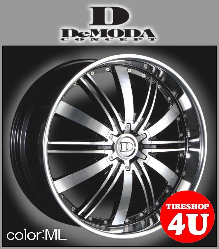 22インチDeMODA ディモーダ Absoluter アブソリュート ブラックポリッシュ/ミラーリップムラーノ ヴァンガード CX−7 レクサス RX スカイラインクーペ インフィニティFX35 エクスプローラー タイヤ付4本SET