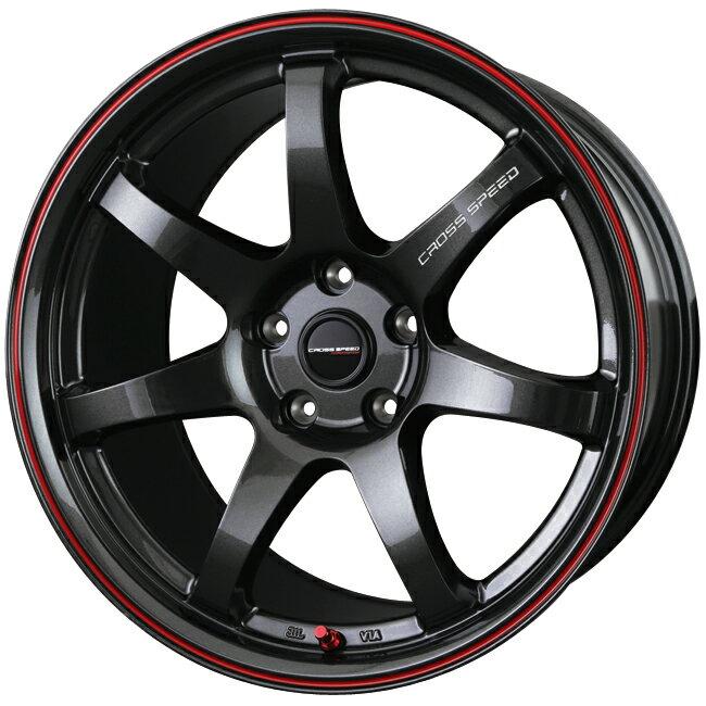 15×4.5J 4/100 +45 グラスガンメタ&レッドライン クロススピード ハイパーエディション CR7 軽自動車 新品アルミホイール1本価格  \u203bソリオ(MA15系)、デリカD;2対応