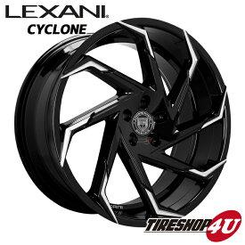 22インチLexani Cyclon(レクサーニ サイクロン) 22×9.0J グロスブラック/マシンチップムラーノ(Z50)、レクサス RX(10系)、FORD エクスプローラー(U74)、ナイトロ など 特選輸入タイヤタイヤ 265/35R22 新品タイヤホイールセット4本価格