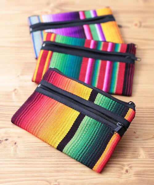 カスリ3ジッパー財布 gua100098 /チチカカ公式 TITICACA 小銭入れ カラフル サラッペ ポーチ 中南米 グアテマラ