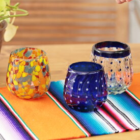 グラス メキシコグラス ロックグラス コップ ガラス クリア おしゃれ 夏 食器 水玉 エスニック アジアン ネイティブ チチカカ公式 TITICACA / メキシコ ボウルグラス zismc2412