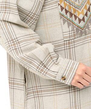 チェック×クロス刺繍シャツワンピース
