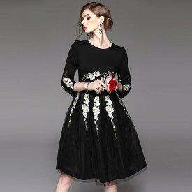 結婚式 ワンピース 結婚式ワンピース 二次会 ブラックフォーマル フォーマル ワンピース 花柄 刺繍 ドレス オーガンジジョーゼット ボリュームフレアスカート ミディアム 大人 披露宴30代40代お呼ばれ高級 ミセス