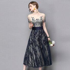 上品な総レースドレス レース袖長袖 欧米 レディース ファッション♪結婚式 ワンピース フレア ショート ミディアム丈 ワンピース 二次会 結婚式ドレス ひざ上 ドレス 着痩せ パーティードレス 大きいサイズ
