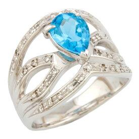【送料無料】【中古】 K18WG リング 指輪 13号 ブルートパーズ ダイヤモンド 0.21ct 18金 K18ホワイトゴールド レディース おしゃれ かわいい ギフト プレゼント