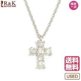 【送料無料】【中古】 VENDOME ヴァンドーム Pt850 ネックレス ダイヤモンド D0.18 クロス 十字架 Pt850プラチナ シルバー レディース メンズ おしゃれ かわいい ギフト プレゼント