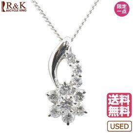 【送料無料】【中古】 Pt900 Pt850 ネックレス ダイヤモンド 0.50ct フラワー 花 Pt900 Pt850プラチナ シルバー レディース メンズ おしゃれ かわいい ギフト プレゼント