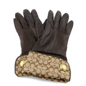 【送料無料】【中古】 COACH コーチ 手袋 レザーグローブ シグネチャーカーフ ブラウン レディース メンズ おしゃれ かわいい ギフト プレゼント