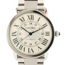 【送料無料】【中古】 CARTIER カルティエ SS 腕時計 ロンドソロ XL シルバー ホワイト メンズ おしゃれ かっこいい おすすめ ギフト プレゼント ステンレススチール【SH】