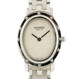 【送料無料】【中古】 HERMES エルメス SS 腕時計 クリッパー オーバル CO1.210 シルバー ホワイト レディース おしゃれ かわいい おすすめ ギフト プレゼント ステンレススチール