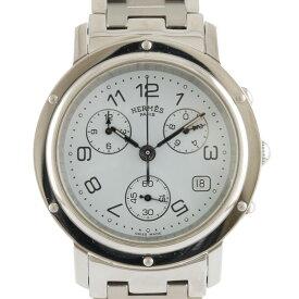 【送料無料】【中古】 HERMES エルメス SS 腕時計 クリッパー クロノグラフ CL1.910 シルバー ホワイト メンズ おしゃれ かっこいい おすすめ ギフト プレゼント ステンレススチール【BIM】