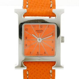 【送料無料】【中古】 HERMES エルメス SS 腕時計 Hウォッチ HH1.210 オレンジ シルバー レディース おしゃれ かわいい おすすめ ギフト プレゼント ステンレススチール レザー【BIM】