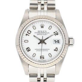 【送料無料】【中古】 ROLEX ロレックス SS K18WG 腕時計 オイスターパーペチュアル A番 1998〜1999年式 アラビア数字 デイトジャスト 79174 シルバー ホワイト レディース かわいい おすすめ ギフト プレゼント ステンレススチール K18ホワイトゴールド【SH】【BIM】