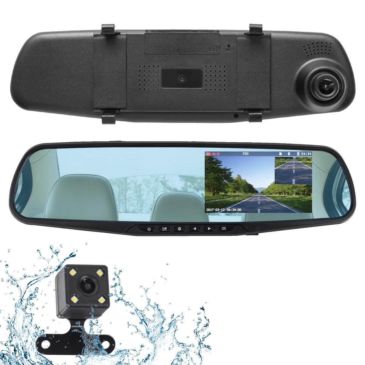 ドライブレコーダー 前後 カメラ 2カメラ バックカメラ ミラー 駐車監視 ステッカー 後方 シール ミラー型 一体型 動体検知 人気 送料無料
