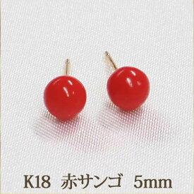 K18 赤サンゴ 赤珊瑚 ピアス (丸玉 5mm) 優しい色合い! レッド 珊瑚 コーラル サンゴ 安心のゴールド台 18金 18K