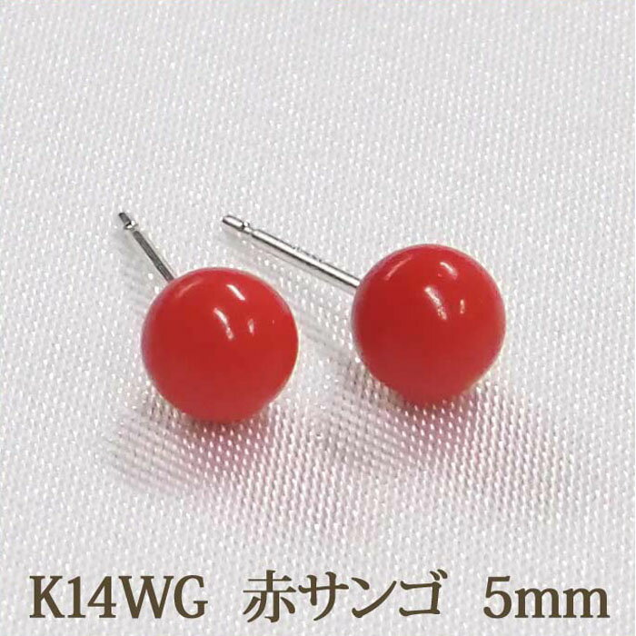 K14WG 赤珊瑚 ピアス (丸玉 5mm) 赤サンゴ レッド 珊瑚 コーラル サンゴ 14金 14K ホワイトゴールド