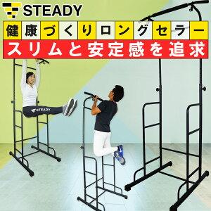 【1位獲得】ぶら下がり健康器 安定強化版 懸垂マシン [メーカー1年保証] STEADY(ステディ) ST101 チンニングスタンド 懸垂器具 懸垂スタンド 懸垂バー ディップススタンド トレーニング器具