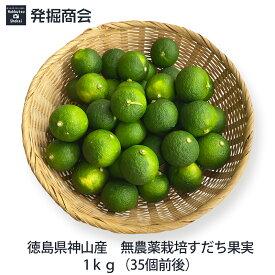 2020年収穫【徳島産 すだち果実】 無農薬栽培 1kg家庭用袋入 サイズ混合