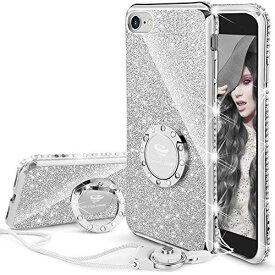 OCYCLONE 2020 iPhone SE 2/ iPhone7/ iPhone8 適応 リング付きケース キラキラ かわいい おしゃれ ストラップ ラインストーン 人気女性女子用 アイフォン7/ 8アイフォン SE 2020ケース 対応 耐衝撃 (シルバー) iPhone 7/8/SE 2020 - シルバー